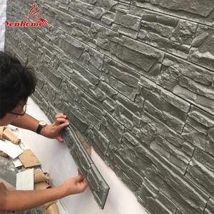 Sala de estar tv fundo decoração do quarto 3d adesivo de parede à prova d 'água auto adesivo papel de parede para quarto de crianças tijolos de pedra adesivos de parede