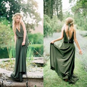 Bohemian Zeytin Yeşil Şifon Ülke Gelinlik Modelleri 2019 Yeni Ucuz Spagetti Düşük Kesim Geri Uzun Hizmetçi Onur Törenlerinde Düğün için Elbiseler