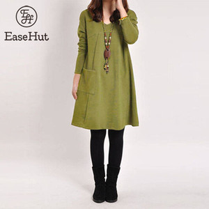 EaseHut Retro Robe d'hiver Femmes col V à manches longues Casual Taille 5XL plus Robe One Piece Mori Fille Spring Midi Robe Vestidos Y200101