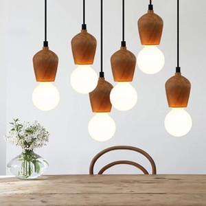 Novidade Vintage DIY Retro madeira Cord Pendant Light Globle luminária E27 Edison Lâmpadas Soquete Madeira Lampholder Art Fixação RW246