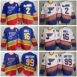 Сент-Луис Блюз 1995 1996 год 16 Brett Hull Джерси 99 Уэйн Гретцки 2 Макиннис Vintage CCM Hockey Мужчины Красный Синий Белый Все прошитой Хороший