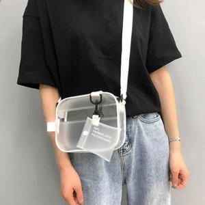 Causual Pvc trasparente della donna Crossbody Borse Tracolla borsa della gelatina Piccolo Holder sacchetti del telefono carta cinghie larghe Flap # j2p