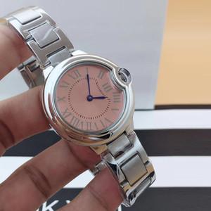 톱 패션 여자 MONTRES 드 럭스 석영 핑크 시계 316L 스틸 리얼 가죽 레이디 손목 시계 여성 Reloj MONTRES는 femmes 클래식 시계를 부어