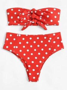 Tarifsiz Sınır Ötesi Patlama Yeni Polka Dot Baskılı Yüksek Bel Bikini Bow Seksi Mayo