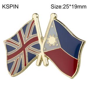 Reino Unido Filipinas bandera de amistad Pin de solapa Insignia de bandera Pines de solapa Insignias Broche XY0456