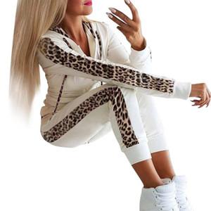 Women 'S Leopard Tuta Stampa coulisse casuale sexy Due -piece jogging + Felpa inverno femminile del vestito formato S-XL