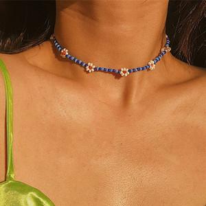Böhmische Mischung Farbe Samenperlen Blume Choker Halskette Kurze Kragen Schlüsselbein Kette Halskette Für Frauen Erklärung Schmuck