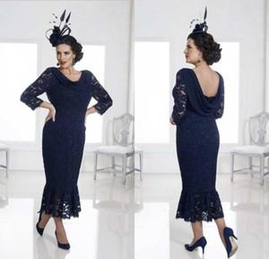2020 elegante modesta mermaid madre de los vestidos de novia Longitud de té de encaje apliqueada Boda Vestidos de invitados Hecho a medida Muchos de talla grande