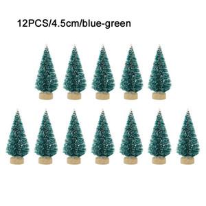 Mini árvore de Natal Sisal Silk Cedar - Decoração da árvore de Natal pequena - Azul Prata Verde Branco Mini