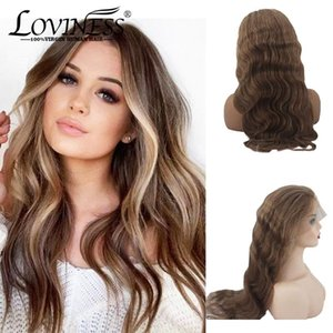 Honey Blonde Highlight Lace Front Human Hair Wigs virgin Remy Ombre Pre-plucked Body Long Wave Black Women Brazilian Human Hair
