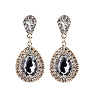 European and American Baroque court retro luxury full diamond drop earrings temperament ear jewelry wholesale