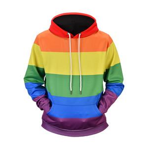 Mens Hoodies Art und Weise Regenbogen-Streifen gedruckt Sweatshirt Pullover Männer Frauen Street LGBT Homosexuell StolzHoodie Herbst Langarm