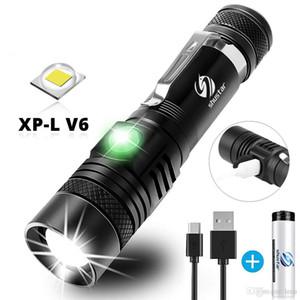 LED el feneri ile XP-L V6 LED lamba Torch Zoomable Su geçirmez 4 aydınlatma modlarını Çok fonksiyonlu USB şarj boncuk