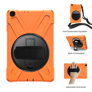 Hybrid Case with Shoulder and Swivel Wrist Strap for Samsung Galaxy Tab A 10.1 2019 T510 T515 Tablet Silicone Cover