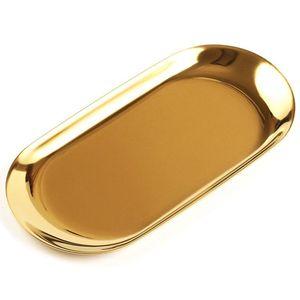 Металлический Лоток Для Хранения Золотой Овал Пунктирная Фруктовая Тарелка Мелкие Предметы Ювелирные Изделия Дисплей Лоток Зеркало