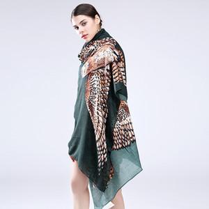MarteJoven Fashion Animal Imprimé Cape Femmes Personnalisé Big Owl Long Châles et Écharpes Dames Patchwork Pashmina