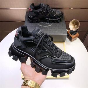 Prada shoes e los hombres clásicos de los zapatos de diseño de lujo casuales de los hombres de las zapatillas de deporte de goma de tela zapatos al aire libre