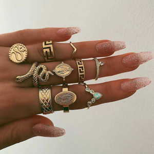 KMVEXO 10Pcs Set Vintage Boho Snake Crystal Finger Rings Set Punk Bohemian Buddha Statue Stone Ring for Women Party Jewelry Gift