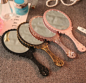 DHL Romantic vintage Lace Hand-held Mirror Bronze Gold Black Pink Makeup Mirrors Cosmetic Tool 4 Colors ns