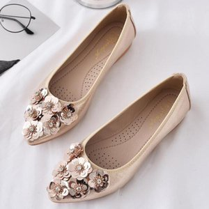 Sequins Flower Shoes Women Flats Ladies Comfortable shallow mouth peas shoes Pointy Toe Single Women Wedding kl364