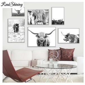 Оптовая Highland Cow 5D Diy Алмаз живопись крупного рогатого скота, северные волы настенные панно для украшения комнаты скандинавский Як FS3144