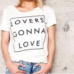 Eleganti Camicie Drop Shipping Donne T casuale di estate del cotone a maniche corte O Collo Shirt T-shirt bianca lettera stampata Top