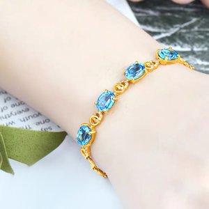 Presente de aniversário de casamento imitação pulseira de ouro 24K Mulheres com banho de ouro Pulseira azul Semi-Precious Stone Embutidos Luxo