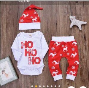 Детские Гирсы Мальчик Рождество Пижама Одежда наборы Дети с длинным рукавом Рождества Письма печати Romper + тяжелое дыхание + шлет младенец 0-24 месяца