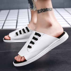 Sandalias del verano 2019 los zapatos para hombre del estilo del verano de estilo coreano tendencia al aire libre planos ocasionales de los deportes sandalias del deslizador
