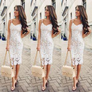 2019 Mujeres Moda Sweet Floral Lace Strappy Vestido blanco Verano sin mangas Bodycon Vendaje Vestidos Lady Sexy Slim Midi Sundress