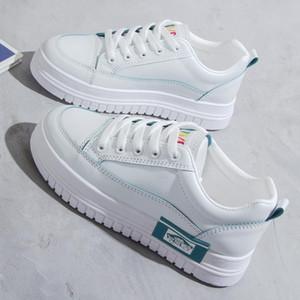 SWYIVY Lässig Grün weiße Schuhe Frauen flache weiße Turnschuhe 2020 Frühling Chunky Sneakers für Frauen-MED-Ferse-Damen-Schuh Mode Weiblichen Turnschuhe