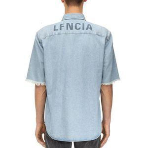 19FW Denim Kurzarmhemd Zurück Buchstabe-Drucken-Blau-T-Shirt Art und Weise T-Stück beiläufige Straße Shirts Männer Frauen Paar Einreiher HFHLCS022