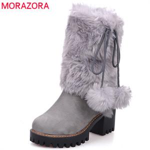 MORAZORA 2020 novo inverno arival botas de neve quente mulheres dedo do pé redondo tornozelo botas de pele falso sapatos de plataforma confortável Senhoras botas