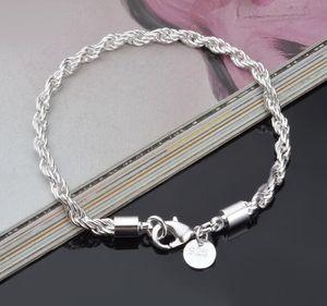 3MM 4MM Larghezza 20CM lunghezza della fune di collegamento Chain di modo del braccialetto 925 Sterling Silver Jewelry placcato braccialetti all'ingrosso di trasporto