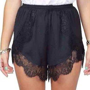 Nova 2016 Womens Ladies Verão Shorts Sexy Crochet Lace Casual Hotsale Black White Elastic Shorts