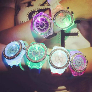 Luminous Diamond led Watch Silicone LED Colorful Lights Diamond Watch Women Ladies Watch Wrist Watches Couples Student Watches light up toys