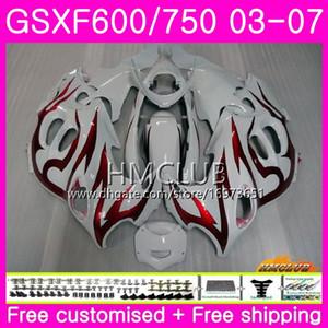 Cuerpo para SUZUKI KATANA GSX750F GSXF 750 600 Top Llamas rojas 03 04 05 06 07 Kit 2HM14 GSXF750 GSX600F GSXF600 2003 2004 2005 2006 2007 Carenado