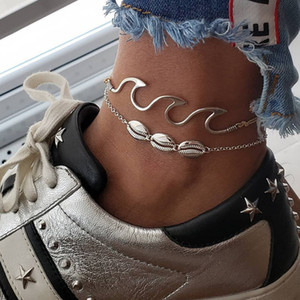 Shell Wave Anklets Foot Chain Multilayer Silver Shells Anklet Bracelet Beach Jewelry for Women drop ship