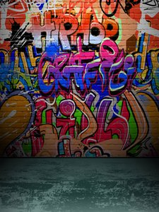 Couleur Graffiti Hip Hop Backdrops Vinyle Photographie Mur de briques photo Fonds Booth pour Birthday Party studio Props