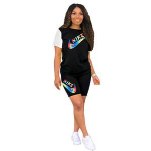 Плюс размер 2XL женщины спортивный костюм 2 шт. Набор пуловер с коротким рукавом футболка топ + шорты повседневная письмо наряды спортивные спортивные костюмы бегун костюм 896