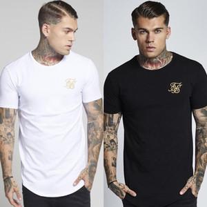 Mode homme broderie Ouest Sik soie T shirt des hommes Hip Hop Casual irrégulière ourlet arrondi manches courtes tshirts Taille M-2XL