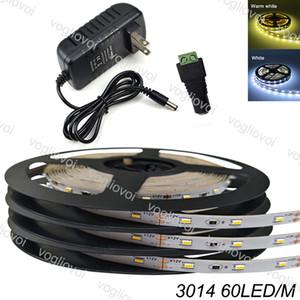 LED Strip Light SMD3014 5M Roll Indoor Light Leds Tape Led Ribbon Flexible Cool White DC12V Adapter 300LEDS Holiday Decoration Set DHL