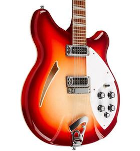 Yeni Özel Ric Gitar Kiraz kırmızı 360 12 Strings Elektrik Gitar Yarı Hollow Vücut Üçgen Anne Pearloid Klavye Kakma Çin gitar