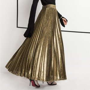 AprilGrass Brand Designer Suede Skirt Gold Silver Long Striped Elasticity Pleated Skirts Womens Saias Midi Faldas Vintage Women Midi Skirt