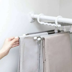 5 in 1 Stainless Steel Multi-function Portable Foldable Clothes Hanger Pants Racks Trousers Hanger Clothes Storage Drying Hanger