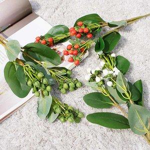 3 Forks artificial Hypericum fruta florece el ramo con el Partido de Hojas Fake DIY flores de la planta simulada Decoración Hogar Jardín