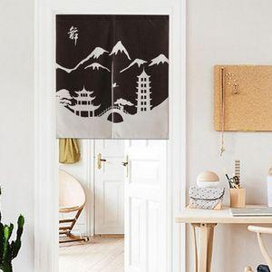 Japanese Design Door Noren Simple Pattern Room Half Curtain Cotton Linen Long   Short Type 7 Pattern Available