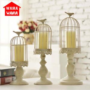 Cube Europeia Candlestick Fique Candle Holders White Bird oca gaiola Esculpido Vela de casamento Titular castiçais Home Decor SH190924