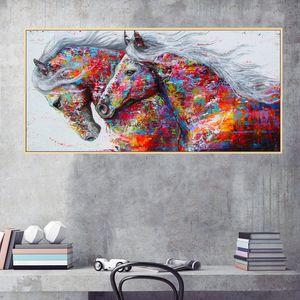 Büyük Tuval Wall Art Kırmızı At Yağlıboya Baskı Modern Soyut Hayvan Duvar Sanatı Resim Ev Oturma Odası Duvar Dekorasyon için