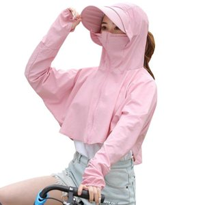 Women Detachable Hat Long Sleeves Breathable Quick Dry Tops Zipper Front Outdoor Cycling Anti UV Sun Protection Clothing Summer